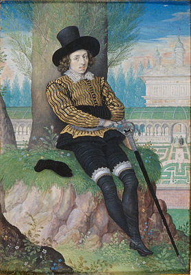 Isaac Oliver, Young Man Seated under a Tree (portrait miniature), c. 1590–1596