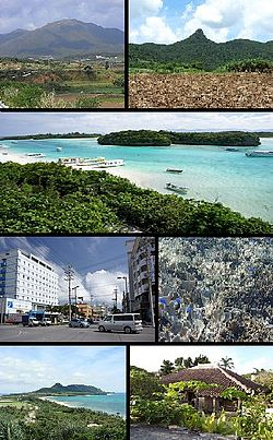 Top left: Mount Omoto, Top right: Mount Nosoko, 2nd row: Kabira Bay from Kabira Park, lower left: 730 Street in downtown Ishigaki, lower right: Shiraho natural reef, Bottom of left:Hirakubo peninsula from Tamatorizaki, Bottom right: Miyara old residence site