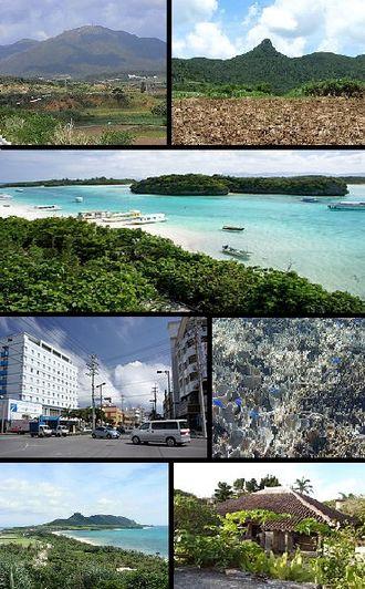 Ishigaki, Okinawa - Top left: Mount Omoto, Top right: Mount Nosoko, 2nd row: Kabira Bay from Kabira Park, lower left: 730 Street in downtown Ishigaki, lower right: Shiraho natural reef, Bottom of left:Hirakubo peninsula from Tamatorizaki, Bottom right: Miyara old residence site