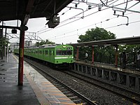 JNR 103 Nara Line local at JR Fujinomori Station.jpg
