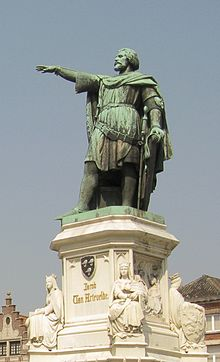 "Statue of Jacob of Artevelde on the ""Vrijdagsmarkt"" in Ghent"
