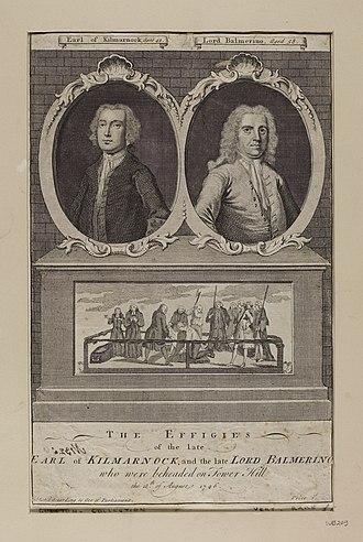 William Boyd, 4th Earl of Kilmarnock - Effigies of Earl of Kilmarnock Lord Balmerino with a scene of execution.