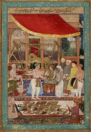 Mahabat Khan - Jahangir weighing prince Khurram (later Shah Jahan) against gold and silver in the presence of Mahabat Khan and Khan Jahan.