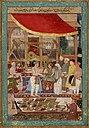 Jahangir weighing prince Khurram (later Shah Jahan) against gold and silver in the presence of Mahabat Khan and Khan Jahan..jpg
