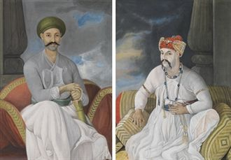 Mirza Jawan Bakht - Portrait of The Nawob Vizier Asaf-Ud-Daula, seated, full-length; and Portrait of Prince Mirza Jawan Bakht, heir apparent to the Mughal Emperor Shah Alam, seated, full-length