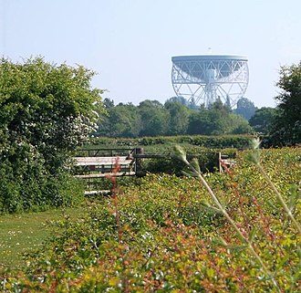Goostrey - The Lovell Telescope taken from Station Road, Goostrey near the Livery Stables.
