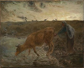 Peasant Watering her Cow, Evening