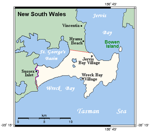 Hyams Beach, New South Wales - Map of the neighbouring Jervis Bay Territory showing Hyams Beach