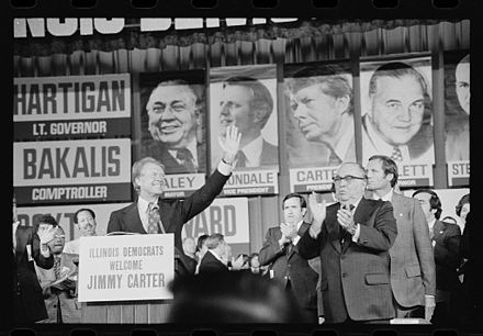 Jimmy Carter and Daley at the Illinois State Democratic Convention in Chicago, Illinois, 1976.