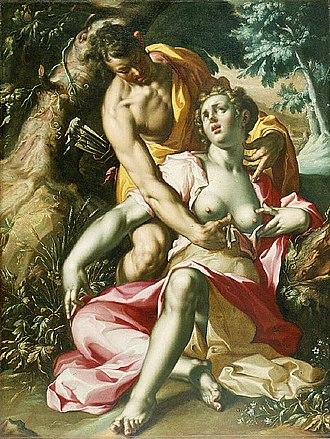 Procris - The Death of Procris by Joachem Wtewael (circa 1595-1600)