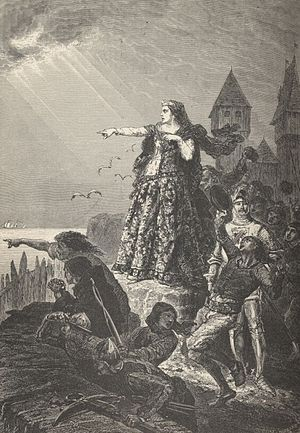 Joanna of Flanders - Joanna of Flanders spots the English fleet arriving to relieve Hennebont, 1342 Illus. from François Guizot's, History of France, 1869