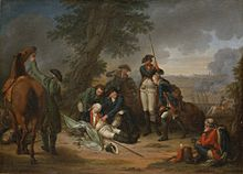 Painting of Prussian Field Marshal Schwerin dying at the Battle of Prague
