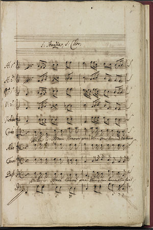 "Johann Ernst Galliard - Original manuscript of ""Whither is Roman honour gone"", a chorus from Julius Caesar (BL Add MS 25484)"