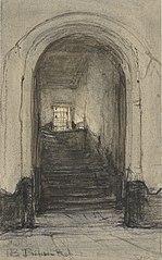 De trap in het Prinsenhof te Delft, waar prins Willem I werd vermoord in 1584