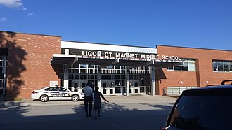 John W. Ligon Middle School - Entrance to Ligon's atrium
