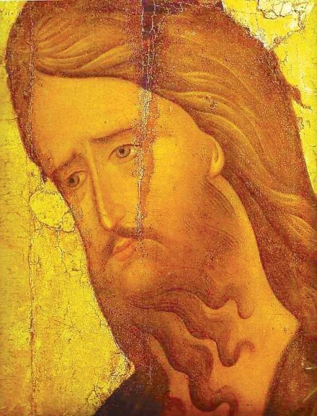 John the Baptist (15th c., Rublev museum) detail