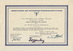 Junkers - Share of the Junkers Flugzeug- und Motorenwerke AG, issued October 1937