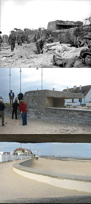 Enfilade and defilade - Top to bottom: a German bunker on Juno Beach with wounded Canadian soldiers, 6 June 1944. The same bunker in September 2006. Finally, the view of bunker's enfilading field of fire with respect to the seawall