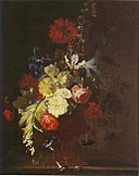 Justus van Huysum - Bouquet with hollyhock, opium poppy, and other flowers in a vase with medallion.jpg