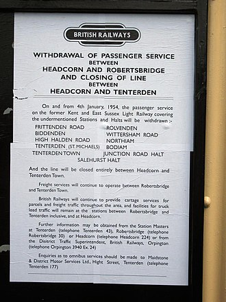Kent and East Sussex Railway - Notice of closure, 1953