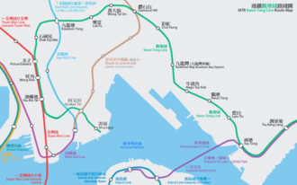 Kwun Tong Line - Geographically accurate map of the MTR Kwun Tong Line