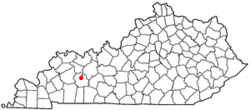 Location of Powderly, Kentucky