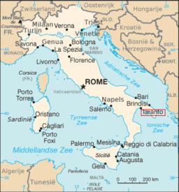 Tarantos beliggenhed i Italien