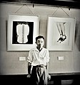 Kansuke Yamamoto in front of his works, VIVI exhibition 1949.jpg