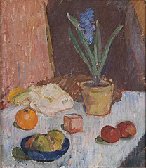 Composition with Hyacinth, Fruits and Blue Bowl