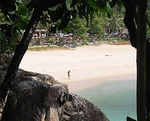 Effect of the 2004 Indian Ocean earthquake on Thailand - Regular sea level at Kata Noi beach.
