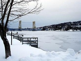 Keweenaw Waterway - The Keweenaw Waterway in winter, looking west toward the Portage Lake Lift Bridge.