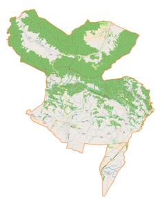 """Mapa konturowa gminy Korczyna, blisko centrum u góry znajduje się punkt z opisem """"Czarnorzeki"""""""