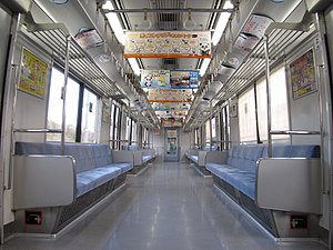 Chiba New Town Railway 9100 series - Image: Koudan 9100 9117inside