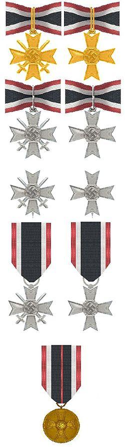ORIGINAL WW2 GERMAN MEDAL RIBBON BUTTON HOLE W MERIT CROSS /& EASTERN FRONT MEDAL