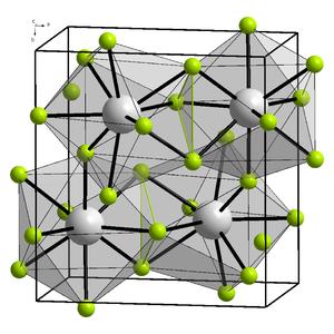Bismuth trifluoride - Image: Kristallstruktur Yttrium(III) fluorid