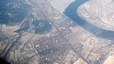 Общий вид города Кстово с воздуха, март 2015 г.