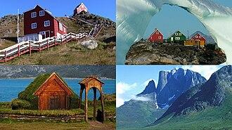 Kujalleq - Clockwise from top left: Qaqortoq, Alluitsup Paa, Ulamertorsuaq, Qassiarsuk
