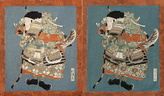 On the right, the real sheet of a theatre surimono by Kunisada, on the left with a faked signature of Hokkei, c. 1825 Kunisda-and-faked-Hokkei.jpg
