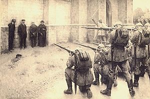 German war crimes - Depiction of the execution of civilians in Blégny by Évariste Carpentier
