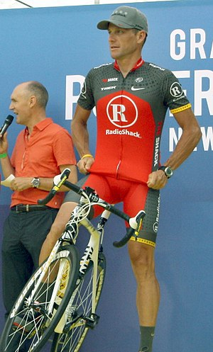 Lance Armstrong at the team presentation of th...