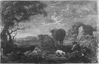 Landscape with Shepherds, a Dog and Cattle