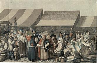 Transylvania - A market scene in Transylvania, 1818