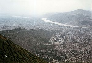 Lanzhou - View of Lanzhou as seen from mount Lanshan, looking towards the west. (1989)