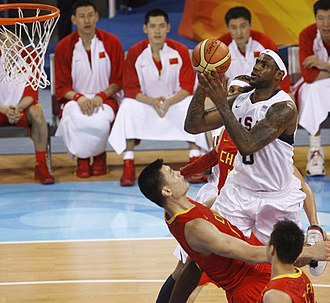 LeBron James - James attempts a shot over China's Yao Ming at the 2008 Summer Olympics in Beijing.