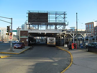 Lechmere station - Lechmere busway, adjacent to the outbound platform exit