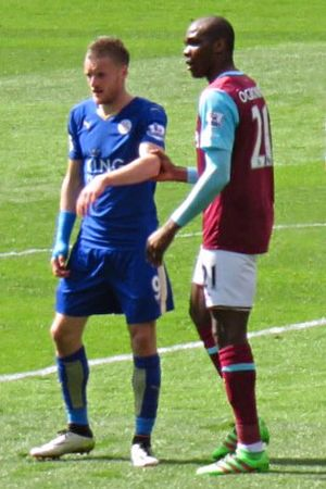 Angelo Ogbonna - Ogbonna (right) playing for West Ham United against Leicester City, 2016