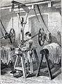 """Les merveilles de l'industrie, 1873 """"Ouvrier lissant le maroquin avec la machine à lisser"""". (4726593763).jpg"""