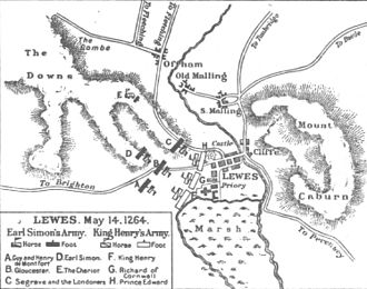 Battle of Lewes - Plan of the Battle of Lewes
