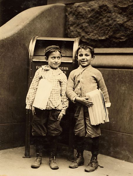 File:Lewis Hine, Willie Cohen and Max Rafalovizht, 8 years of age, newsboys, Philadelphia, 1910 (cropped).jpg