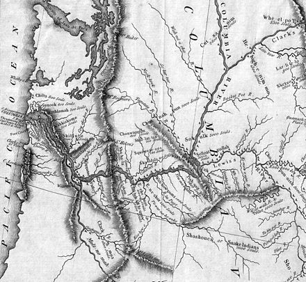 "Detail from the Lewis and Clark expedition map. The Willamette River is shown as the ""Multnomah"", while the Snake River is ""Lewis's River"". (See complete map.) Lewis and Clark Columbia River.jpg"